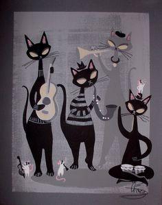 Sold for   $190.72/12 16 bids  El Gato Gomez Painting Retro 1950s Jazz Cat Mid Century Modern Beatnik Bongo Mod | eBay