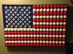 Golf Balls and Tees as USA Flag. My golf lover husband would go crazy over this!