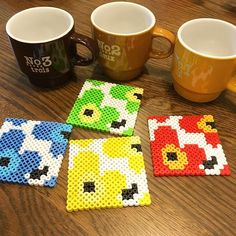 Inspired Marimekko coasters perler beads by Hama Beads Coasters, Diy Perler Beads, Perler Bead Art, Pearler Beads, Fuse Beads, Hama Beads Design, Hama Beads Patterns, Beading Patterns, Diy Cards Crafts