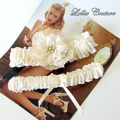 Lace and pearls garter set by lolliecouture on Etsy, $40.00