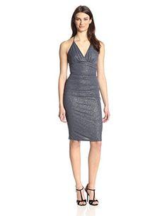 laundry BY SHELLI SEGAL Women's Bar Back Roller Glitter Dress, Steel, 4 Was: $245.00 Now: $122.50