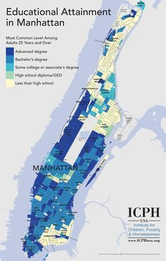 Segregation by educational attainment in Manhattan. Infographic