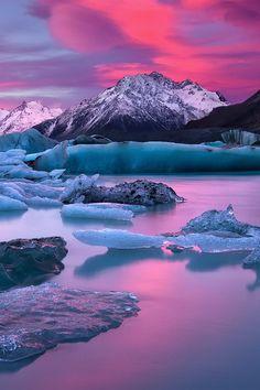 In A Blaze Of Glory by Darren J Bennett - Lake Tasman, Mount Cook, New Zealand…