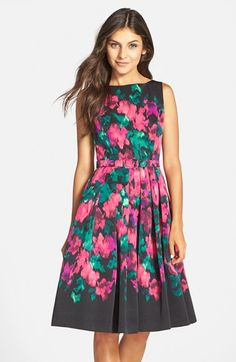 Eliza J Floral Faille Fit & Flare Dress | Nordstrom