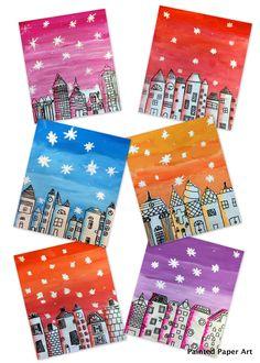 20 Winter Art Ideas For Kids that are Frame-worthy! – 20 Winter Art Ideas For Kids that are Frame-worthy! – 20 Winter Art Ideas For Kids that are Frame-worthy! – 20 Winter Art Ideas For Kids that are Frame-worthy! Winter Art Projects, Winter Project, Diy Art Projects, Arte Elemental, Classe D'art, 5th Grade Art, Middle School Art, Painted Paper, Art Classroom
