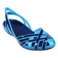 Crocs Huarache Girls Slingback Flat J - Aqua/Navy
