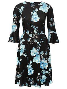 M&Co. Women Floral print flute sleeve dress
