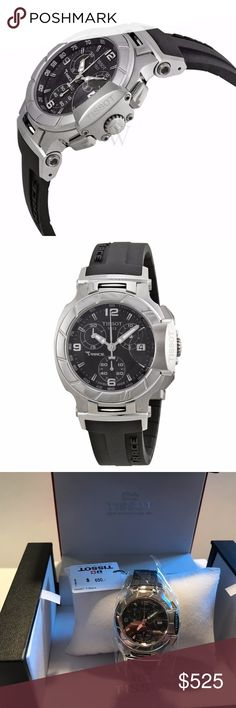 Tissot Ladies T Race Chronograph Watch Stainless steel around black face with chronograph dials, date and time.  This watch is on trend NOW and is beautiful enough to wear with a suit/dress to work or while training/exercising. Tissot Accessories Watches