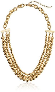 """Gold-Tone 3-Strand Beaded Necklace, 25"""" Amazon Curated Collection http://www.amazon.com/dp/B00EH9UX0W/ref=cm_sw_r_pi_dp_nC5Pub0855JDC"""