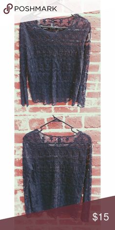 Black lace long sleeve shirt Only wore it once Forever 21 Tops