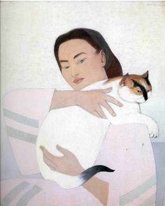 Young Woman with White Cat | gouache painting by Will Barnet