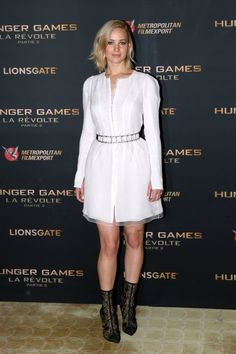 The Hunger Games: Mockingjay Part 2 Paris Photocall, 2015 Jennifer's lace booties are to die for, and so is this white belted dress by Christian Dior couture.