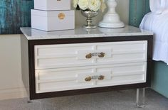 Custom St. Tropez nightstand with marble top - I'm obsessed!!! (via - roomservicestore.com)