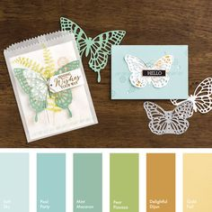 Soft Sky, Pool Party, Mint Macaron, Pear Pizzazz, Delightful Dijon & Gold #StampinUpColorCombos