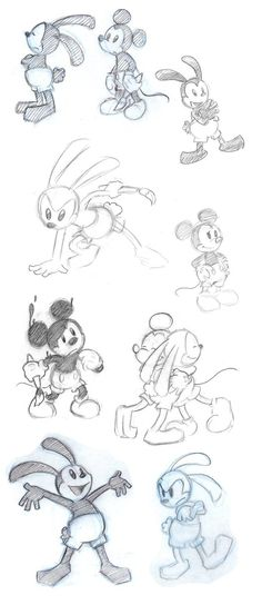 Mickey and Oswald Sketchdump by kolidescope