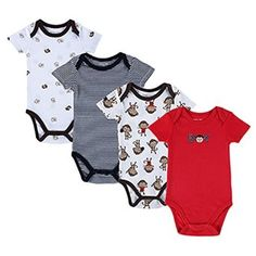 Soft Jamaica Dog Paw Onesies Short Sleeve Cotton Bodysuit for Baby Girls Boys