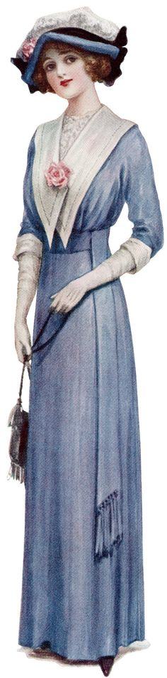 vintage old ladies | victorian lady, fashion 1912, vintage blue dress, antique fashion ...