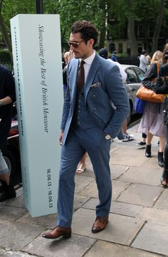 London Collections: Men Street Style - The Jigsaw Blog, David Gandy in a three piece suit