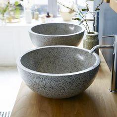Isa Grey terrazzo washbasin - Sale - Round washbasins at Tikamoon Terrazzo, Double Vanity Unit, Vanity Units, Vanity Cabinet, Old Sewing Machines, Downstairs Toilet, Solid Wood Furniture, Black Marble, Bathroom Furniture