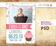213 best 1st birthday invites images on pinterest first birthdays first birthday invitation girl birthday card invitation printable change photos colors and text filmwisefo
