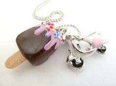 Summer necklace  Popsicle Necklace Polymer Clay