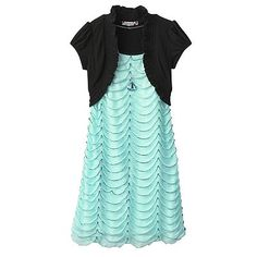Speechless Scalloped Mock-Layer Dress - Girls 7-16