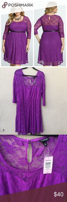 BUNDLE/OFFER SALE➕NWT torrid lace dress size 1 NWT Torrid purple lace skater dress. Features 3/4 sleeve length, sweetheart bodice, and flirty circle skirt. Does not come with belt, but any belt you have will work with it. Brown might even look better! Size 1, can fit 14-20. Lace has some stretch to it. torrid Dresses Long Sleeve