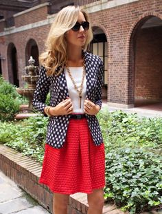 i like the patterned blazer and the size of the necklace. I like the skirt too but i'm not sure i could pull it off with my shape