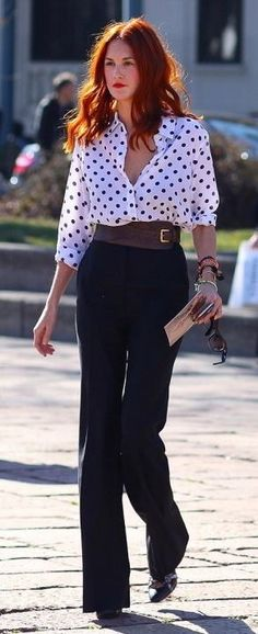 love the dots & I wish I could pull off high waisted pants