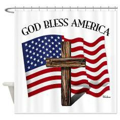 God Bless American With US Flag and Rugged Cross Shower Curtain    •   This design is available on t-shirts, hats, mugs, buttons, key chains and much more   •   Please check out our others designs at: www.cafepress.com/TsForJesus