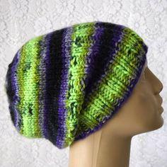 bf5ca1ce566 Purple green black hat slouchy hat