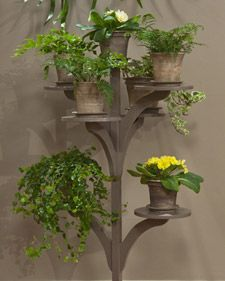 This elegant, handcrafted stand is an excellent way to display your plants.