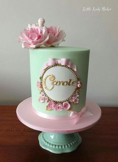 Pretty plaque birthday cake