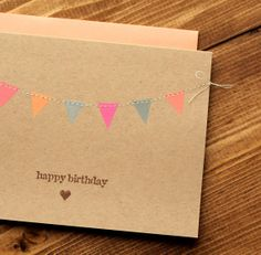 Happy Birthday Card Pink Coral and Grey Bunting by builtonbranches