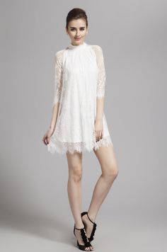 $89.89 Sheath Column High Neck Short Length Lace dress -Cocktail Dresses-DeniseDress