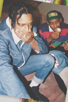ASAP Rocky wearing  Maison Margiela Denim Jacket With Faux Fur Collar And Lining, Maison Margiela Distressed Slim Fit Jeans, Alexander Wang Kent High Chukka Boot, Goyard 3D Pattern Belt