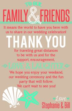 Beach Themed Wedding Welcome Bag Thank You Note Printable File - Brown, Coral and Turquoise on Etsy, $8.00