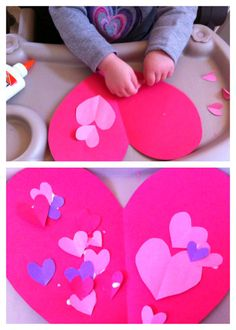 easy paper valentine heart craft project/activity for toddlers and preschoolers for Valentine's Day!