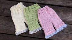 Newborn baby hand knitted pants with lace trim by MyLittleKnits, $25.00