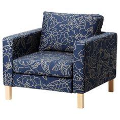 I sooooo want this chair!    KARLSTAD Chair - Bladåker blue/beige - IKEA