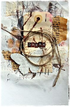 Collaged tag, butterfly, dream, twine