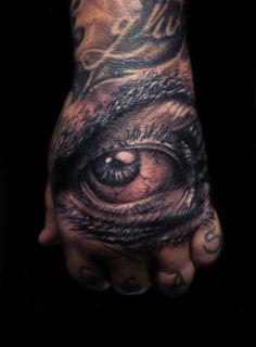 I've got my eye on you. #InkedMagazine #realistic #eye #tattoo #tattoos #Inked #ink #hand