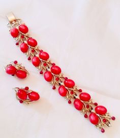 Pegasus Coro Red Moonglow Lucite Rhinestone Bracelet by OurBoudoir, $78.00