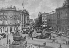 Piccadilly Circus in with a view towards Leicester Square via Coventry Street. London Pavilion is on the left, and Criterion Theatre on the right. Victorian Life, Victorian London, Vintage London, Old London, London City, Dracula Novel, Pass Photo, 19th Century London, Real Castles