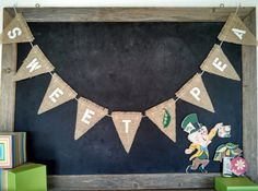 Sweet Pea Burlap Banner Baby Nursery Bunting Sign by SweetThymes, $30.00