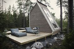 Nido Cabin by Robin Falck - Cabin tiny house in Sipoo, Finland made with recycled materials - Dwell Green Architecture, Architecture Design, Minimalist Architecture, Sustainable Architecture, Pavilion Architecture, Building Architecture, Architecture Student, Residential Architecture, Amazing Architecture