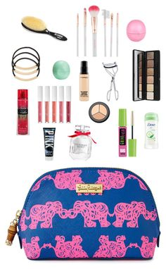 """""""Inside my everyday makeup bag!"""" by ponyboysgirlfriend ❤ liked on Polyvore featuring Lilly Pulitzer, BP., Accessorize, Maybelline, BBrowBar, e.l.f., MAC Cosmetics, H&M, Eos and River Island"""