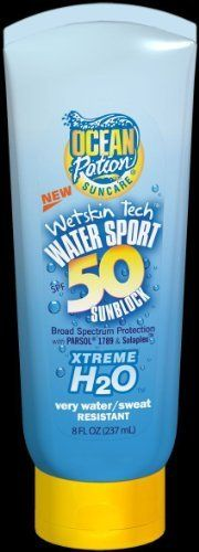 Ocean Potion H2O Sport Sunblock Lotion SPF 50-8 oz by Ocean Potion. $8.15. Ocean Potion H2O Sport Sunblock Lotion SPF 50 8 ozOcean Potion Water Sport SPF 50 Lotion with Wetskin Tech provides the ultimate water resistance. Stabilized broad spectrum formula bonds instantly with dry skin for the most durable waterproofing possible to assure long lasting sun protection. Fortified with 200 IU of Vitamin D3 per 1oz application to help preserve health and prevent disease.Oil F...