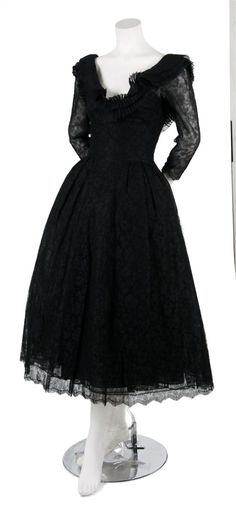 A Jacques Fath Black Lace Gown,   probably 1950s