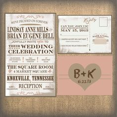 Rustic Wedding Invitation Burlap Wedding Invitation by ohsoplume, $1.00